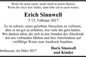 Danksagung Erich Sinnwell